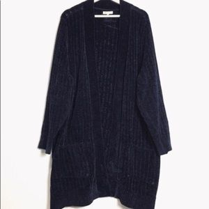 Margeaux & Ellie Navy Ope Long Cardigan Sweater 2X